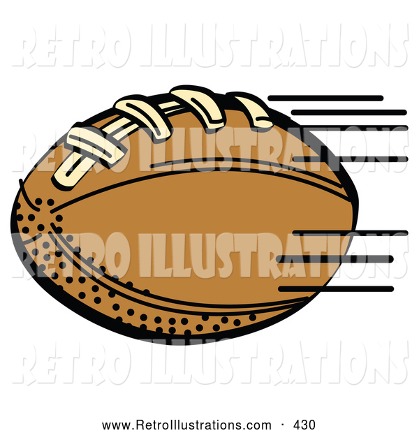 Retro Illustration of a Fast Brown Leather American Football Speeding Through the Air During a Game on White