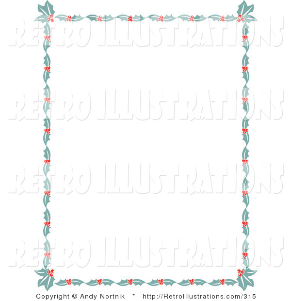 Retro Illustration of a Festive Stationery Border of Holly Leaves and Berries Around a White Background Retro Clipart Illustration