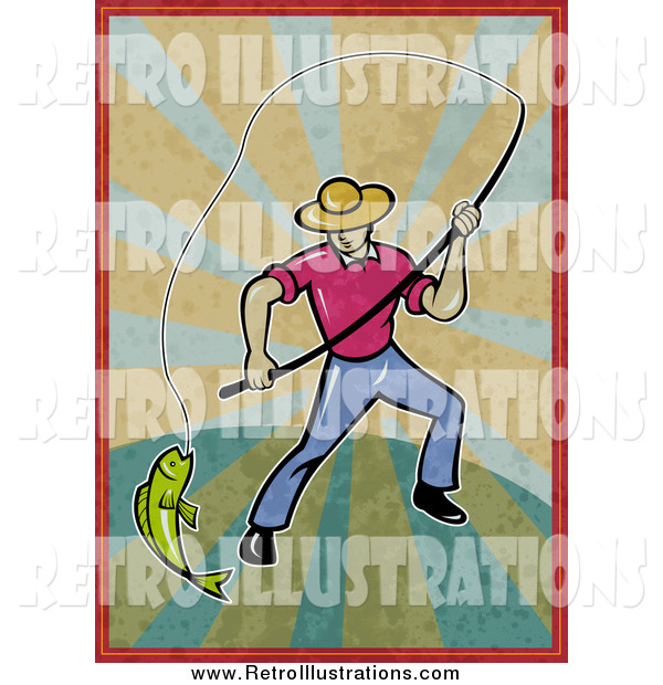 Retro Illustration of a Fly Fisherman Pulling in a Catch on Distressed Rays