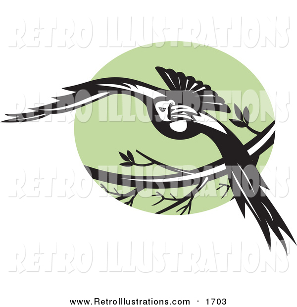 Retro Illustration of a Flying Raven over a Green Circle
