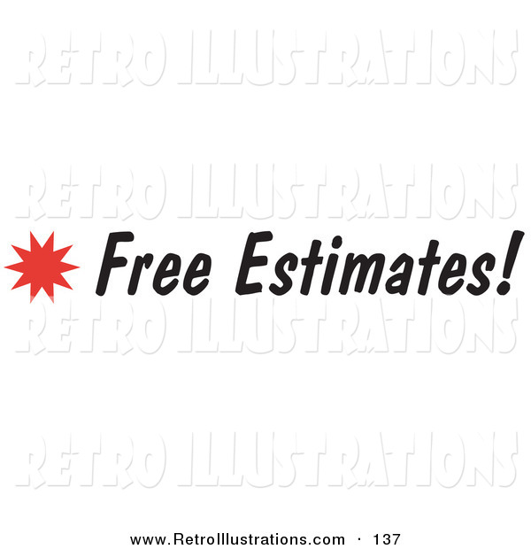 Retro Illustration of a Free Estimates Text on a Sign with a Star Burst