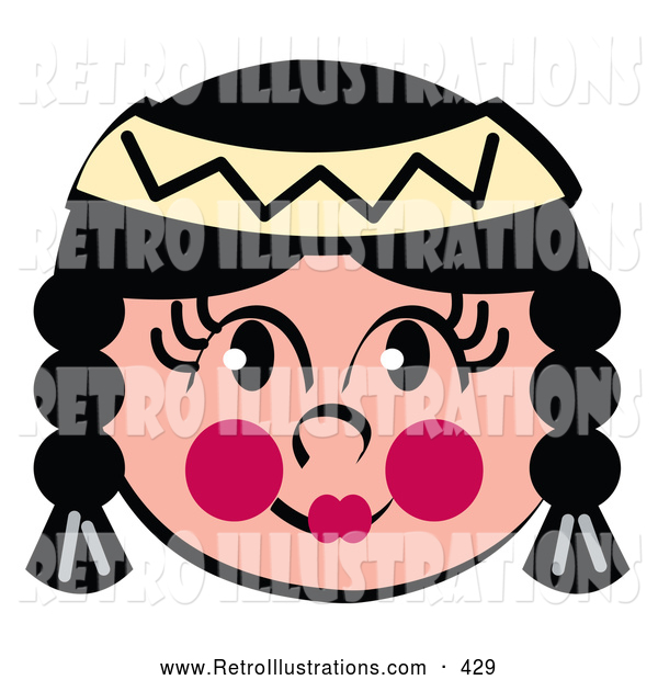Retro Illustration of a Friendly Native American Tribal Indian Girl with Face Paint