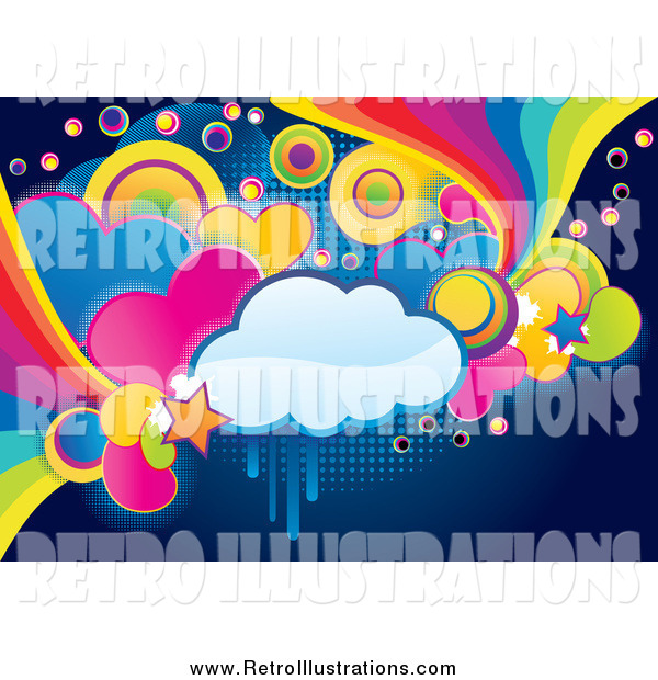 Retro Illustration of a Funky Cloud, Circle, Heart and Rainbow Grunge Background