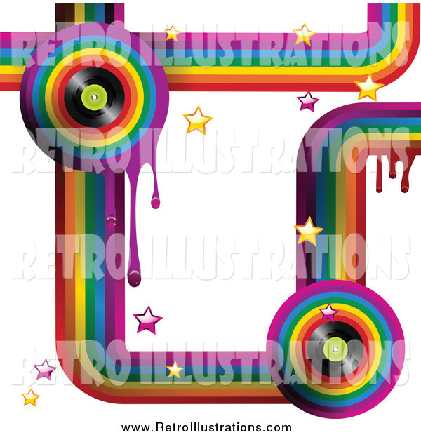Retro Illustration of a Funky Rainbow Background with Drips, Stars and Music Vinyl Records on White