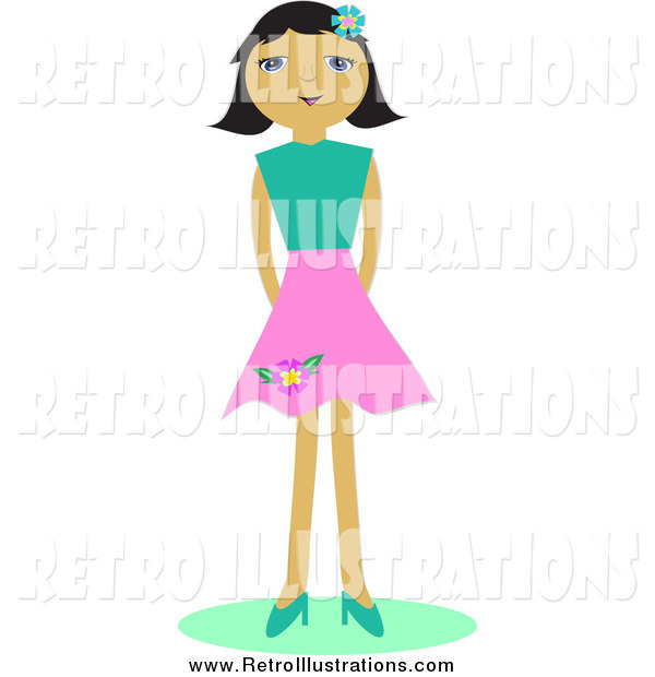 Retro Illustration of a Girl in a Pink Skirt