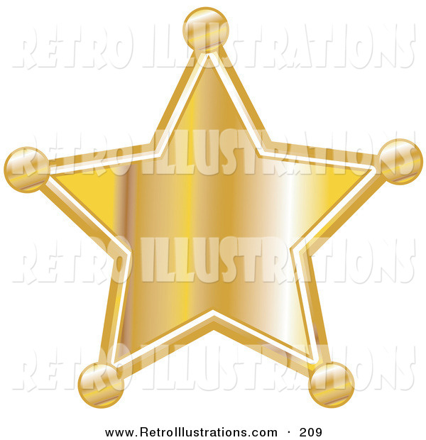 Retro Illustration of a Golden Star Shaped Sheriff's Badge on White