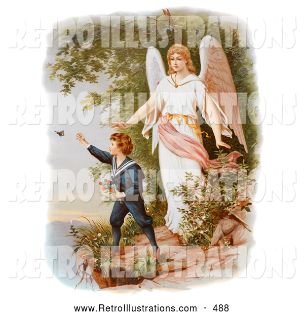 Retro Illustration of a Guardian Angel Watching over a Child Playing near a Tall Cliff, Circa 1890