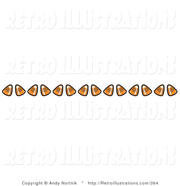 Retro Illustration of a Halloween Border of Candy Corn