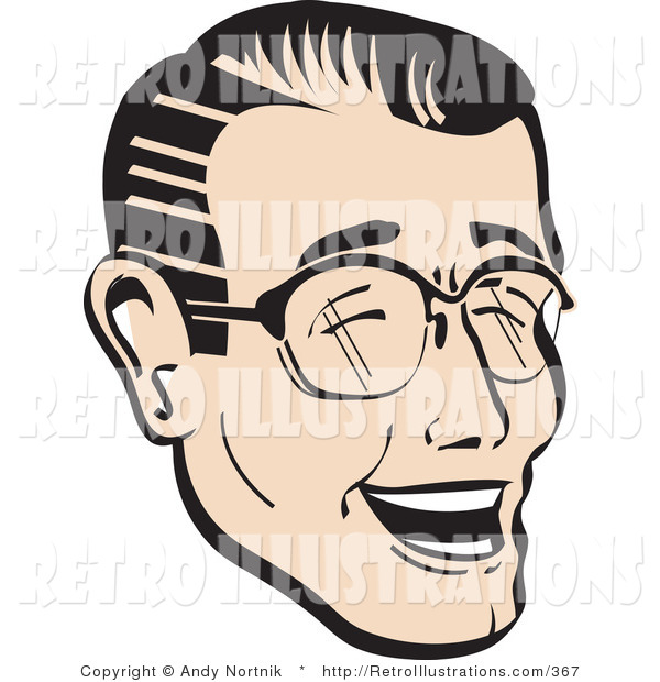 Retro Illustration of a Happy Man with Black Hair Wearing Glasses and Laughing Retro