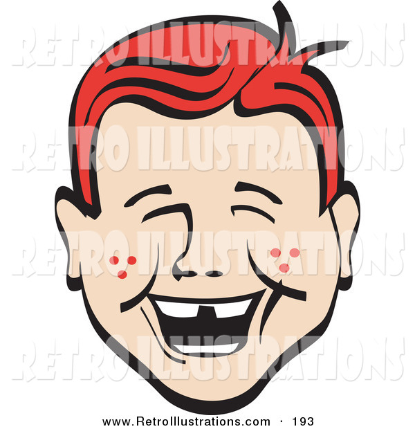 Retro Illustration of a Happy Red Haired Freckled Young Boy with Missing Front Teeth, Laughing Retro