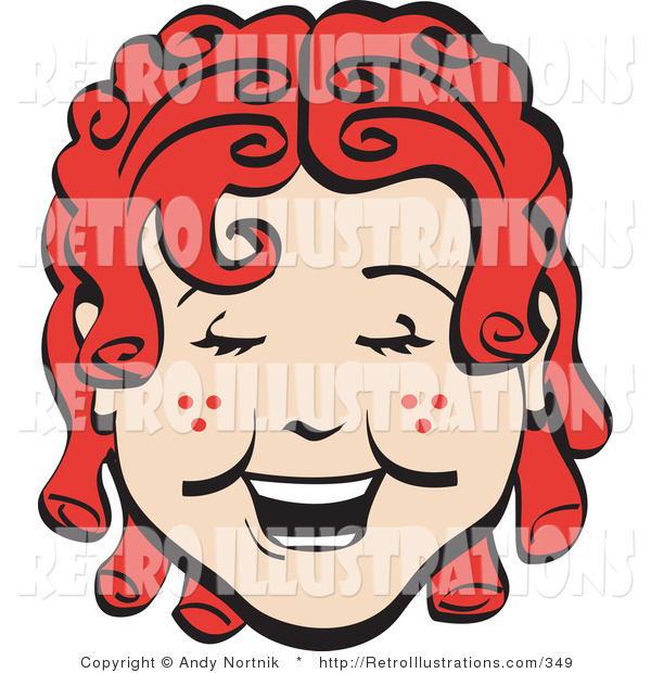 Retro Illustration of a Happy Red Haired Girl with Freckles and Curly Hair, Laughing Retro