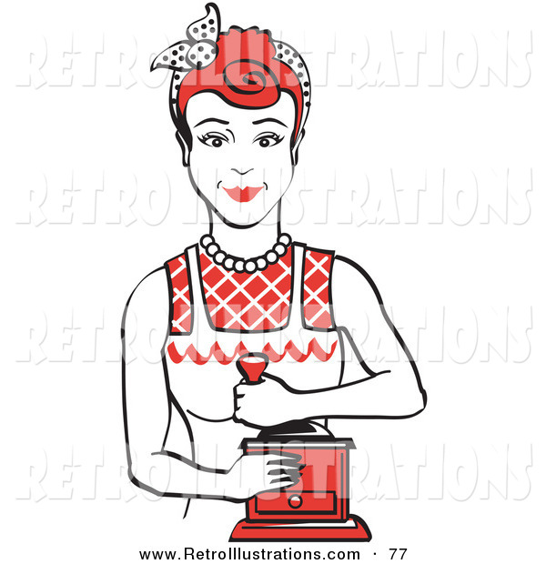 Retro Illustration of a Happy Red Haired Housewife or Maid Woman Facing Front and Smiling While Using a Manual Coffee Grinder