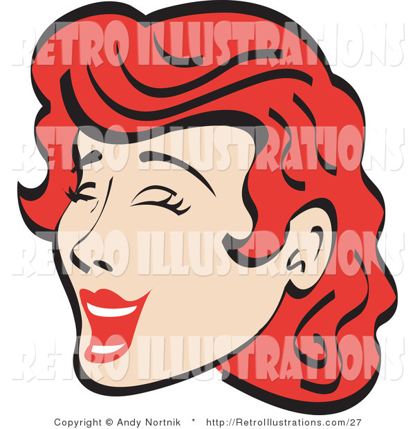 Retro Illustration of a Happy Red Haired Woman Closing Her Eyes and Laughing Retro