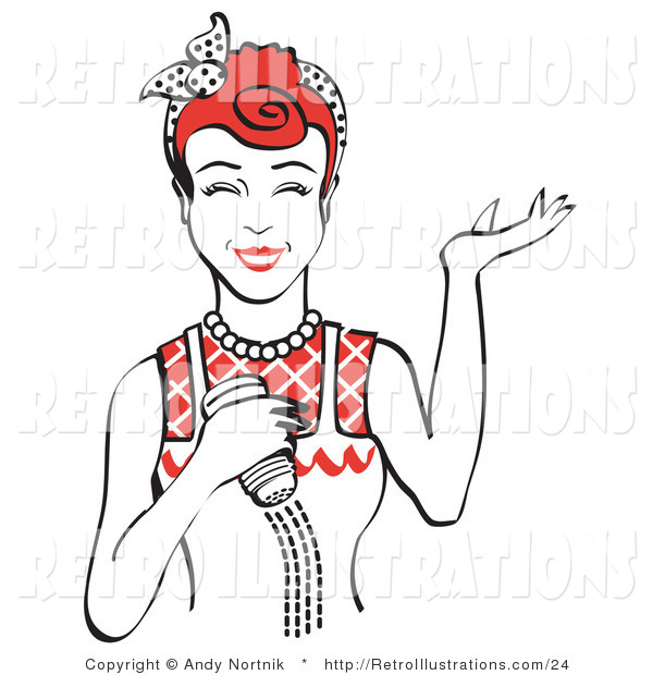 Retro Illustration of a Happy Red Haired Woman Holding a Salt Shaker While Cooking