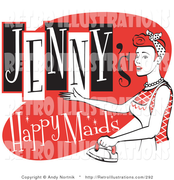 Retro Illustration of a Happy Redhaired Woman in a White Apron, Ironing Clothes on a Vintage Jenny's Happy Maids Advertisement