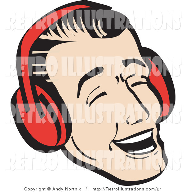 Retro Illustration of a Happy Young Man Wearing Red Headphones or Ear Muffs and Singing Christmas Carols
