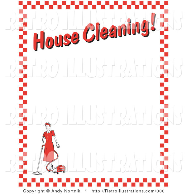 "Retro Illustration of a Housewife Woman Vacuuming with a Canister Vacuum with Text Reading ""House Cleaning!"" Borderd by Red Checkers Clipart Illustration"
