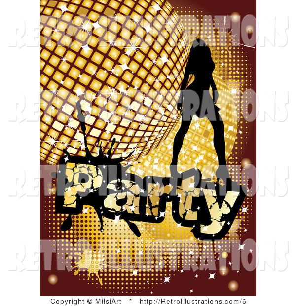 Retro Illustration of a Lady with a Retro Golden Disco Ball and Party Text