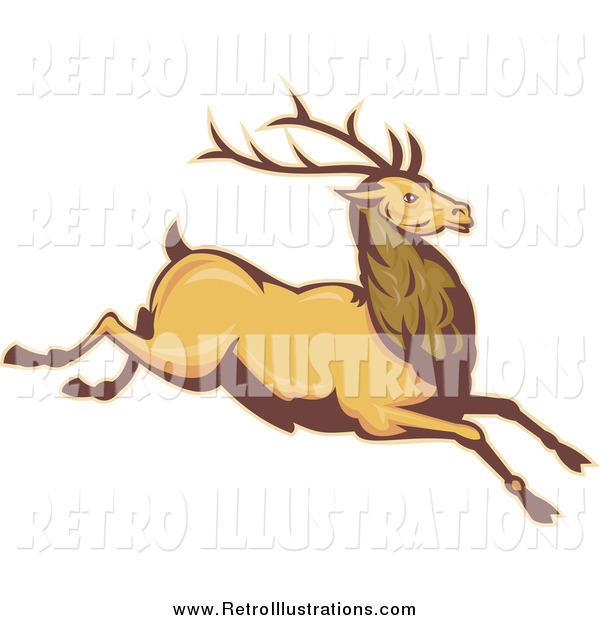 Retro Illustration of a Leaping Deer
