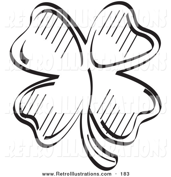 Retro Illustration of a Lucky Four Leaf Clover in Black ...
