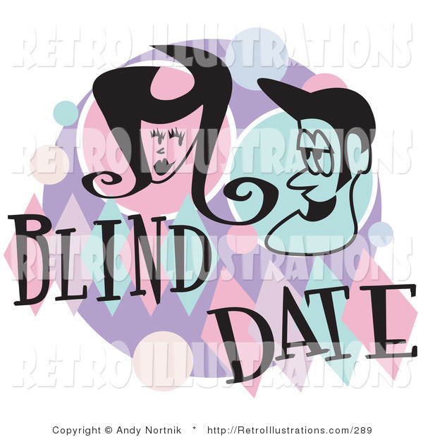 Retro Illustration of a Man and Woman Grinning at Each Other While on a Blind Date