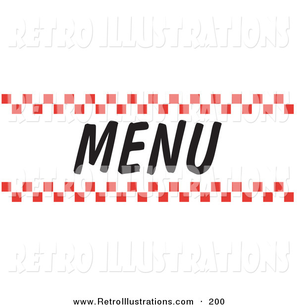 Retro Illustration of a Menu Sign with Red Checker Borders on White
