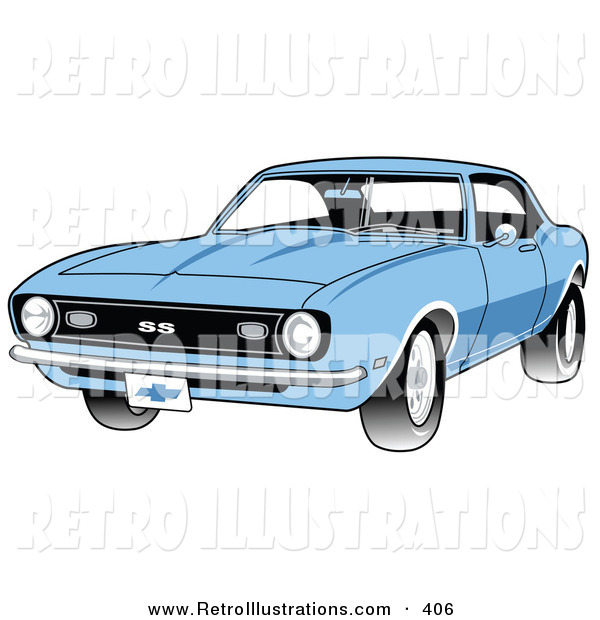 Retro Illustration of a New Light Blue 1968 Chevrolet SS Camaro Muscle Car with a Chrome Bumper