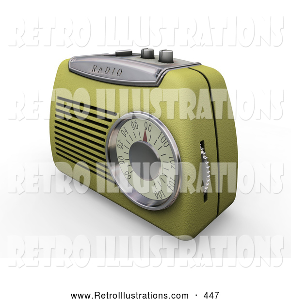 Retro Illustration of a Old Fashioned Retro Greenish Yellow Radio with a Station Dial, on a White Surface