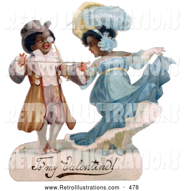 Retro Illustration of a Old Fashioned Romantic Black Couple in Beautiful Clothing, Ballroom Dancing, Circa 1890