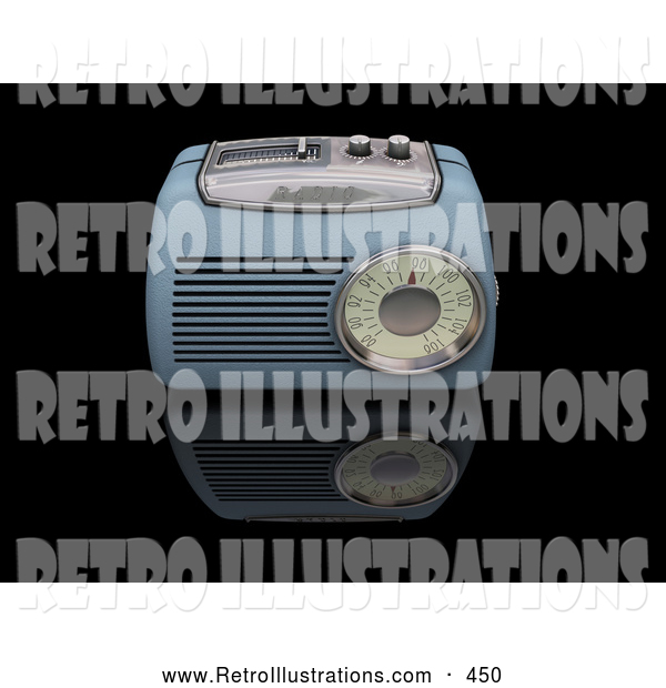 Retro Illustration of a Old Fashioned Vintage Blue Radio with a Station Tuner, on a Reflective Black Surface