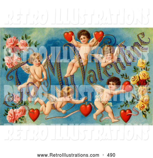 "Retro Illustration of a Old Fashioned Vintage Valentine of Five Playful Cupids with Roses, Decorated ""To My Valentine"" Text with Red Hearts, Circa 1911"