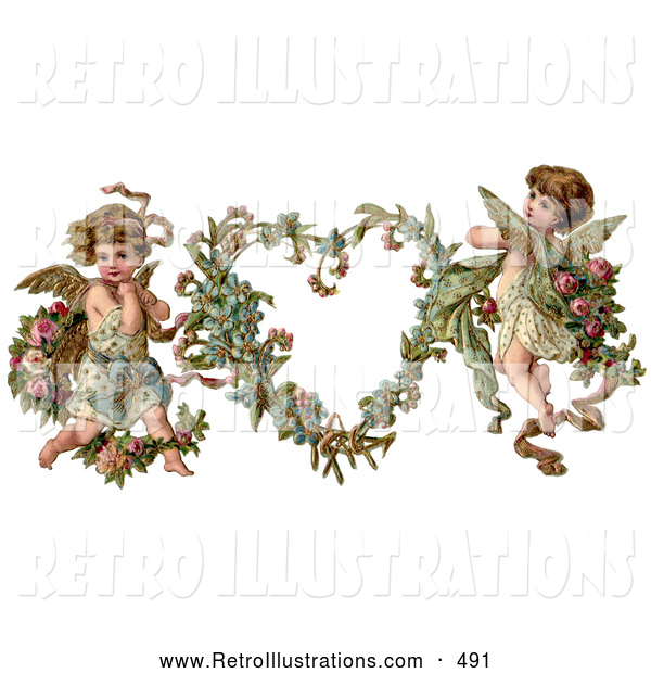 Retro Illustration of a Old Fashioned Vintage Valentine of Two Adorable Cupids with Roses Beside a Gilded Forget Me Not Valentine Heart Wreath