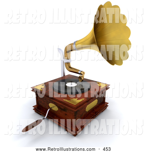 Retro Illustration of a Old Fashioned Wooden Gramophone with a Handle and Golden Horn Playing Music from a Record
