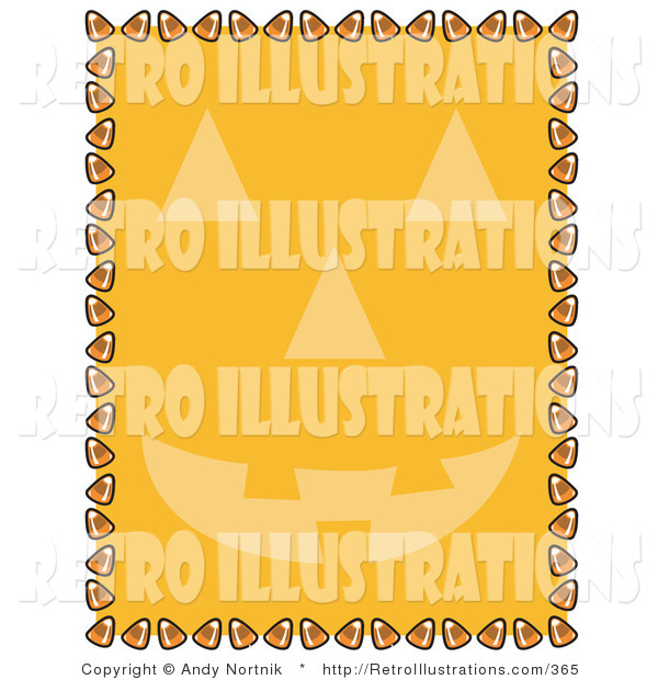 Retro Illustration of a Orange Background with a Halloween Pumpkin Face and a Border of Candy Corn