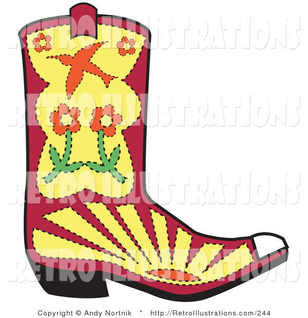 Retro Illustration of a Pink and Yellow Cowgirl Boot with Flowers, Sunset and a Bird