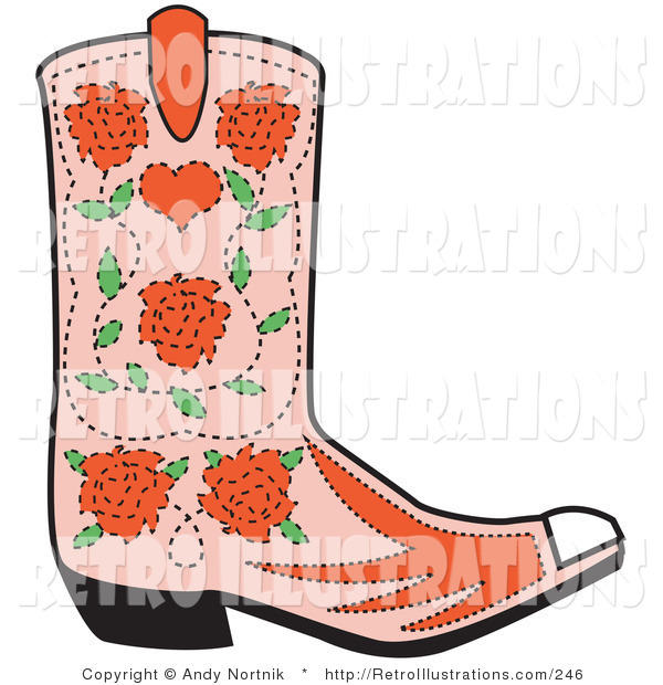 Retro Illustration of a Pink Cowgirl Boot with a Pattern of Blooming Red Roses