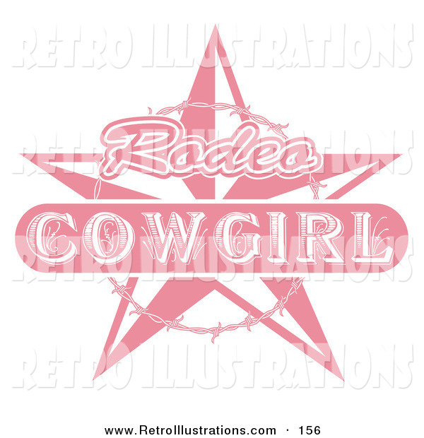 Retro Illustration of a Pink Rodeo Cowgirl Sign with a Star and Barbed Wire over Solid White