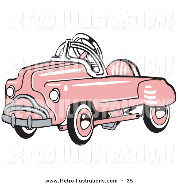 Retro Illustration of a Pink Shiny Metal Pedal Convertible Toy Car