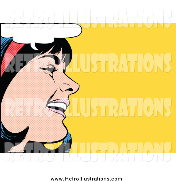 Retro Illustration of a Pop Art Black Haired White Woman Talking over Yellow
