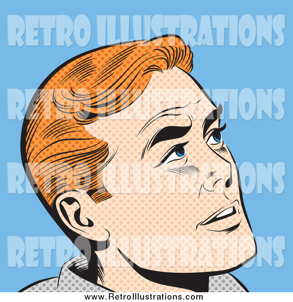 Retro Illustration of a Pop Art Red Haired White Man Looking up