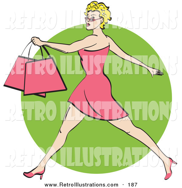 Retro Illustration of a Pretty Blond Caucasian Woman with Short Hair Taking Long Strides and Carrying Shopping Bags Clipart Illustration