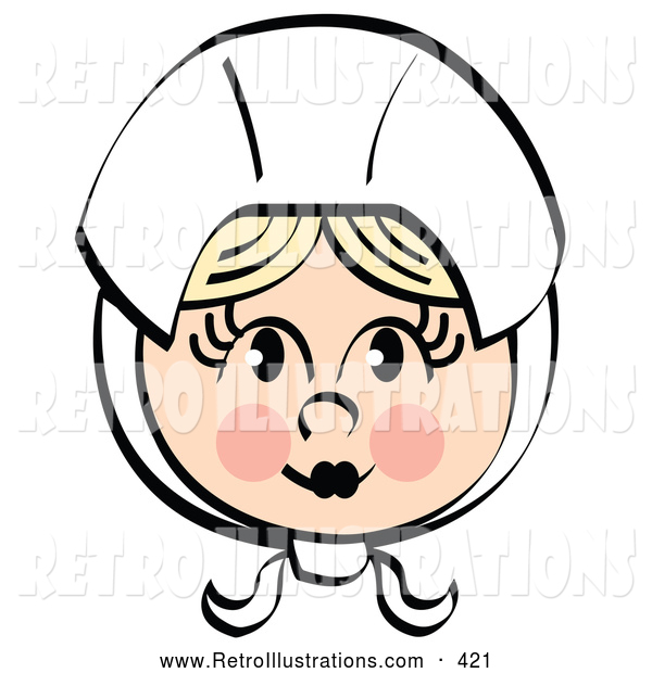 Retro Illustration of a Pretty Female Pilgrim Blushing and Wearing a White Bonnet over Her Blond Hair on White