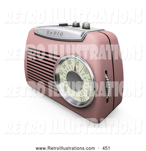Retro Illustration of a Pretty Retro Pink Radio with a Station Dial, on a White Surface