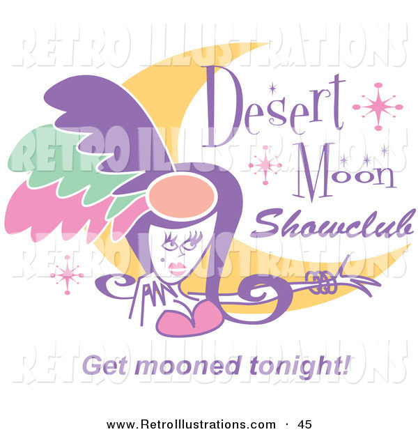 Retro Illustration of a Pretty Showgirl and a Moon and Stars on a Desert Moon Showclub Sign