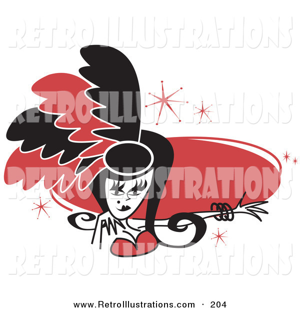 Retro Illustration of a Pretty Showgirl in Red and Black Feathers, Holding out Her Arm in Front of a Red Oval