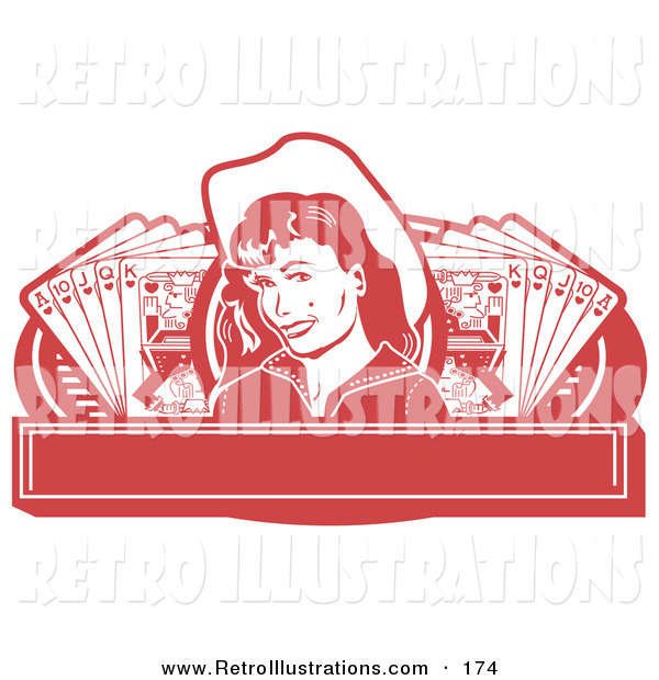 Retro Illustration of a Pretty Smiling Cowgirl with a Mole, Wearing a Hat and Standing Between Hands of Playing Cards on a Red Banner