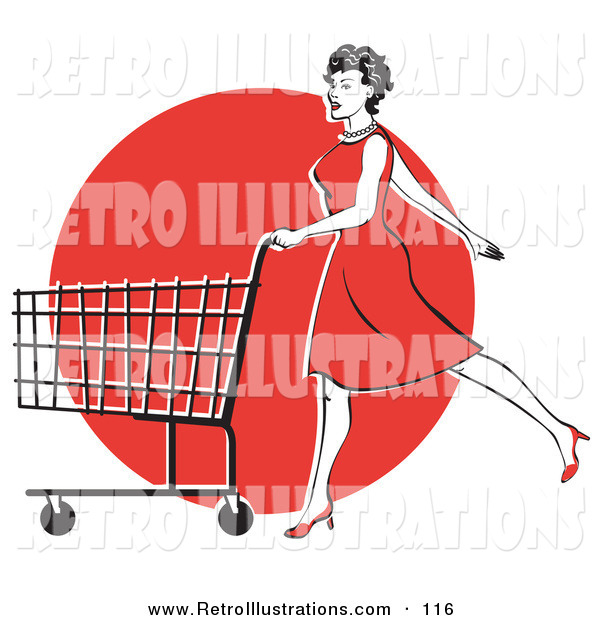 Retro Illustration of a Pretty Young Woman in a Red Dress and High Heels, Walking and Pushing a Shopping Cart in Front of a Red Circle