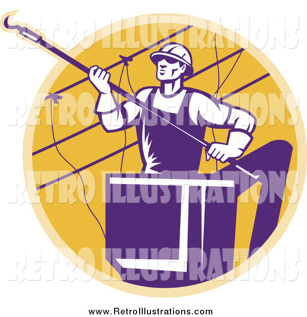 Retro Illustration of a Purple Lineman Working on Power Cables