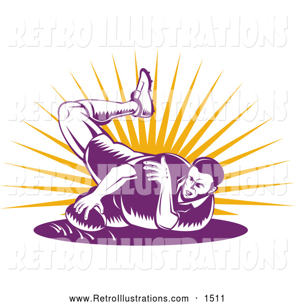 Retro Illustration of a Purple Rugby Football Player Falling over Sunshine