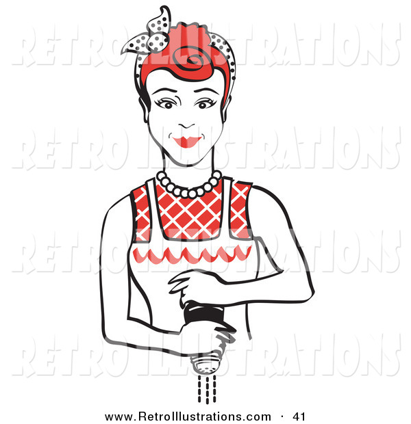 Retro Illustration of a Red Haired Housewife or Maid Woman Grinding Fresh Pepper While Cooking in Her Kitchen